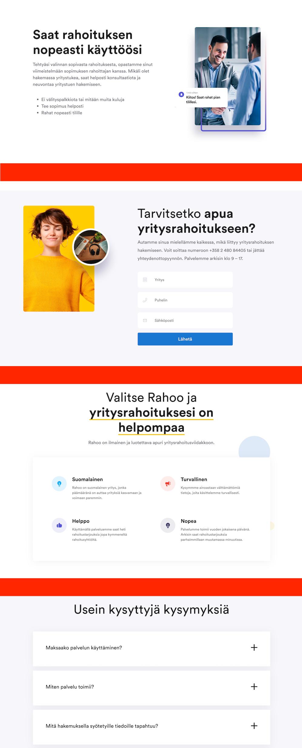 Rahoo.fi sivun lohkoja eriteltynä