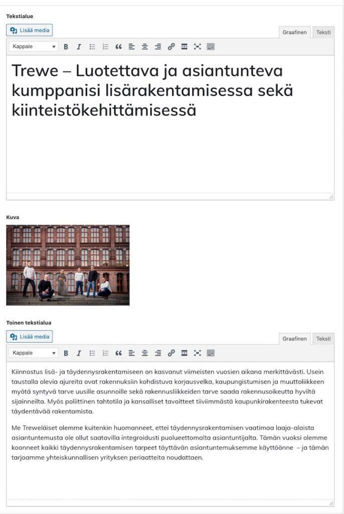 Trewe.fi räätälöidyn lohkon ylläpito